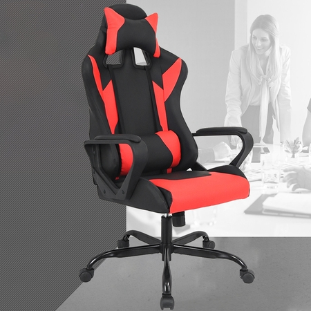 Gaming Chair Racing Chair Office Chair Ergonomic High-Back Leather Chair Reclining Computer Desk Chair Executive Swivel Rolling Chair Lumbar Support For Women, Men(Red)