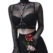 01c7f449d36e11 Sexy Women High-Neck Transparent Sheer Mesh Fish Net Long Sleeve See  Through Crop Tops