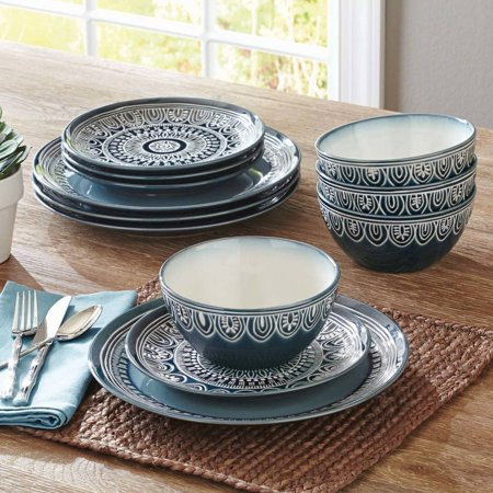 Better Homes & Gardens Teal Medallion 12-Piece Dinnerware Set, Teal