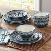 Better Homes & Gardens Teal Medallion 12-Piece Dinnerware Set, Teal
