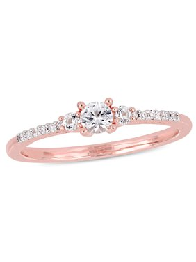 Miabella 1/3 Carat T.G.W. Created White Sapphire and Diamond-Accent Rose Plated Sterling Silver Three-Stone Promise Ring