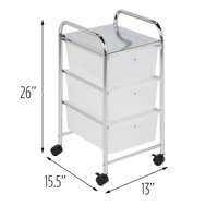 Honey Can Do Compact Steel 3-Drawer Rolling Cart, Chrome/Clear