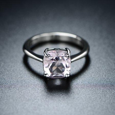 Rhodium-Plating Genuine Pink Amethyst Asscher-Cut Solitaire Ring