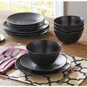 Better Homes & Gardens Matte Swirl 12-Piece Dinnerware Set, Black