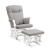 Angel Line Monterey Glider and Ottoman White Finish with Gray Cushions