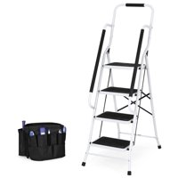 Best Choice Products 4-Step Portable Folding Anti-Slip Steel Safety Ladder w/ Handrails, Attachable Tool Bag - White