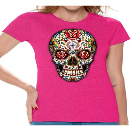 Awkward Styles Rose Eyes Skull Tshirt for Women Sugar Skull Roses Shirt Sugar Skull T Shirt Dia de los Muertos Outfit Day of the Dead Gifts Halloween Shirts Women's Skull Tshirt Red Rose Skull Shirt (Los Origenes Halloween)