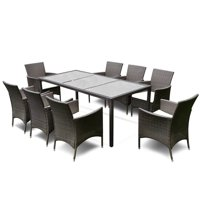 Gymax 9PCS Patio Furniture Set Dining Brown Rattan Table Chairs Cushions Garden