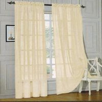 """Qutain Linen Solid Viole Sheer Curtain Window Panel Drapes Set of Two (2) 55"""" x 63 inch - Beige"""