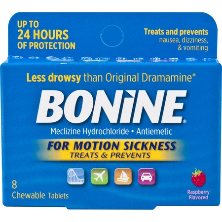 Bonine for Motion Sickness Chewable Tablets, Raspberry Flavored, 8 (Formula Chewable Tablets)