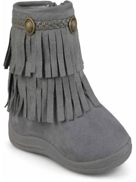 Toddler Girl's Fringed Round Toe Boots