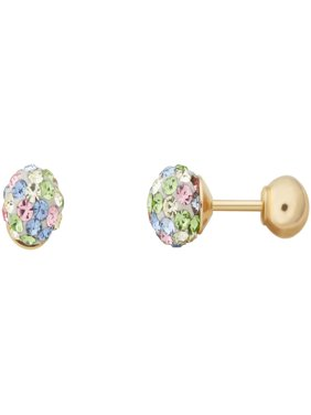 Simply Gold Kids' 10K Yellow Gold 4.8mm Pastel Crystal Ball/4mm Ball Stud Earrings