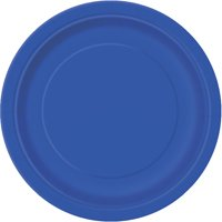 (3 Pack) Paper Plates, 7 in, Royal Blue, 24ct