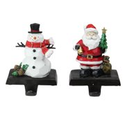 "0c28c029c905c Set of 2 Santa and Snowman Christmas Stocking Holders 7"""