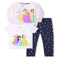 Disney Princess Graphic Sweatshirt, T-Shirts, And Legging, 3-Piece Outfit Set (Little Girls)