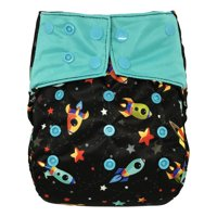 Reusable Diaper Cover: Waterproof Shell for Baby Prefold Cloth Diapers, Flats or Inserts (Rocket)