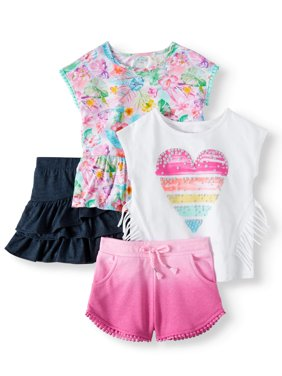 Toddler Girls' Mix & Match Fashion Tops, Shorts and Skort, 4-Piece Outfit Set