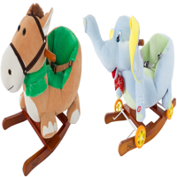 Rocking Horse Plush Animal 2-in-1 Wooden Rockers; Wheels, Seat AND Seat Belt and Sounds, Ride on Toy for Babies 1-3 Years, by Happy Trails
