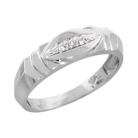 10k White Gold Ladies' Diamond Wedding Band Ring 3/16 inch wide Size 6