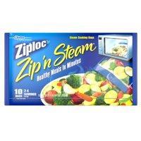 (2 pack) Ziploc Pinch and Seal Zip'n Steam Microwave Cooking Bags, Medium, 10 Ct