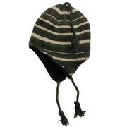 3d3f09f59aab4 Igloos Mens Khaki Green Striped Peruvian Style Trapper Hat Fleece Lined