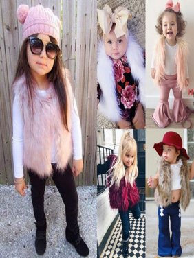 Children Fashion Coat Faux Fur Vest Waistcoat Warm Winter Outwear Jacket Tops