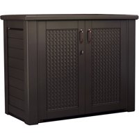 Rubbermaid 1889849 Storage Patio Chic 123 Gallon Cabinet, Dark Teak