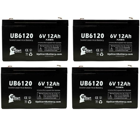 4x Pack - Compatible EMERGILITE DSM27 Battery - Replacement UB6120 Universal Sealed Lead Acid Battery (6V, 12Ah, 12000mAh, F1 Terminal, AGM, SLA) - Includes 8 F1 to F2 Terminal (35mm F1 8 Vs 50mm F1 8)