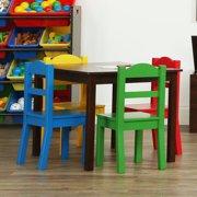 f38dc40b292 Tot Tutors Discover 5-Piece Wood Kids Table   Chairs Set in Dark Walnut