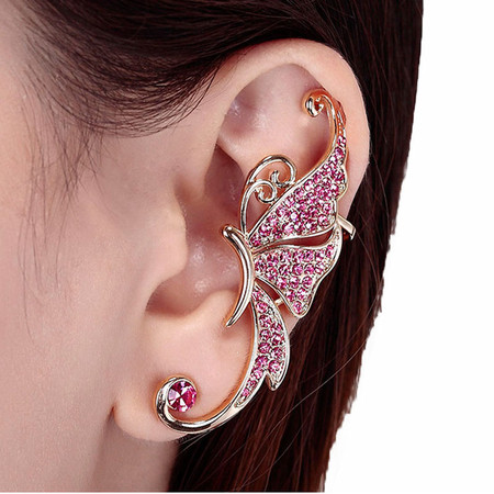 Outtop Crystal Butterfly Wings Ear Clip Clamp Earring Fashion Jewelry