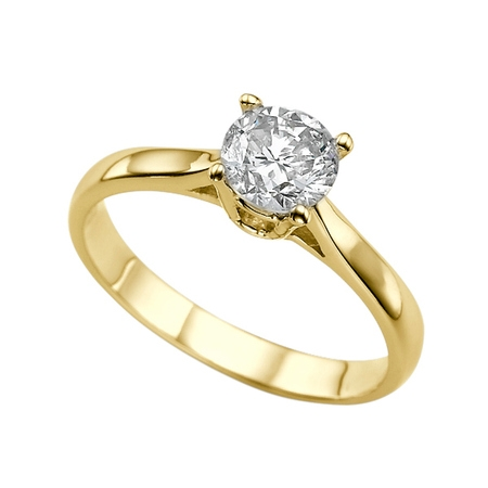 1 Carat (DEW) Moissanite Engagement Ring Forever One 14K Yellow Gold Classic Cathedral Round Cut 6.5MM Moissanite