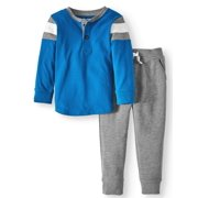 Long Sleeve Henley Shirt & French Terry Jogger Pants, 2pc Outfit Set (Toddler Boys)