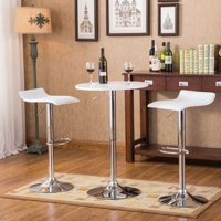 Roundhill Furniture Baxton White Adjustable Height Wood and Chrome Metal Bar Table and 2 Chrome Air Lift Adjustable Swivel Stools Set