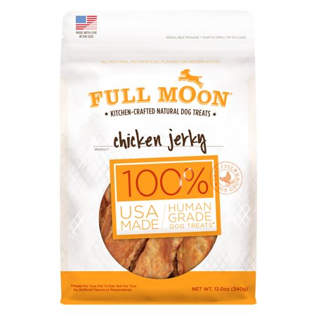 Full Moon All Natural Human Grade Dog Treats, Chicken Jerky, 12 - Organic Jerky Chicken