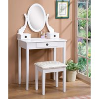 Roundhill Furniture Moniya White Wood Vanity Table and Stool Set