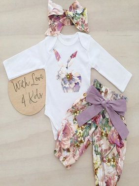 Newborn Infant Baby Girls Cotton Bunny Tops Romper Pants Outfits Headband Set Clothes
