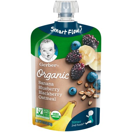 Gerber Organic 2nd Foods Baby Food, Banana Blueberry Blackberry Oatmeal, 3.5 oz - Dr Smoothie Blueberry Banana