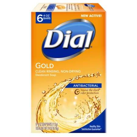 Dial Antibacterial Deodorant Bar Soap, Gold, 4 Ounce Bars, 6 Count