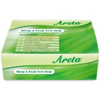 Easy@Home Areta Strep A Swab Test Kit packaged in individual pouches, rapid strep throat or pharyngitis at home test, CLIA Waived, 25 tests, WARST-100S:25