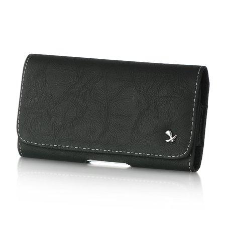 [World Acc] Premium PU Leather Pouch Holster Belt Clip Case For LG K30 X410 | LG K10 (2018) | LG K10 Plus | LG K10 Alpha | LG Premier Pro L413DL | LG X4 (Black PU Leather Pouch LU8Bk)
