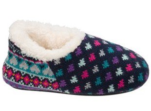 DF by Dearfoams Girls' Sweater Knit Shootie Slippers