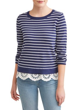 Women's Striped Lace Trim Sweater