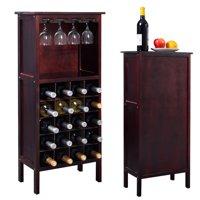 Costway Wood Wine Rack Holder Storage Shelf Display w/ Glass Hanger (20-Bottle(Cabinet))