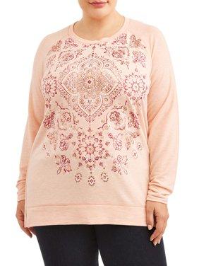 Terra and Sky Women's Plus Size Graphic Raglan Long Sleeve T-Shirt