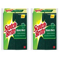 (2 Pack) Scotch-Brite Heavy Duty Scrub Sponges Value Pack, 6 Sponge per Pack