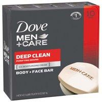 Dove Men+Care Deep Clean, Body and Face Bar Soap, 4 oz, 10 Bar