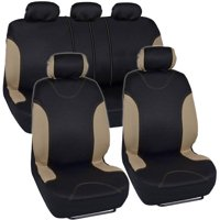 BDK Sleek and Stylish Car Seat Covers, Split Bench Option, 5 Headrests, Side Airbag Compatible