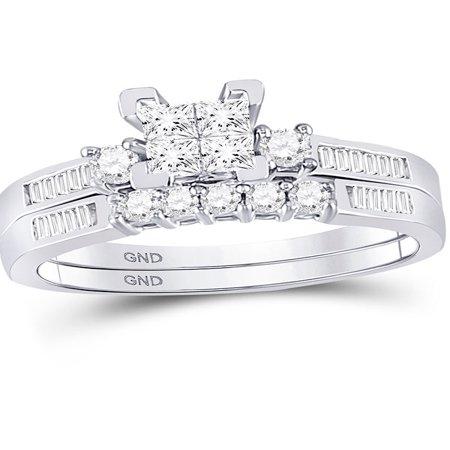 White Gold Ladies Bridal Rings - 10kt White Gold Womens Princess Diamond Bridal Wedding Engagement Ring Band Set 1/2 Cttw