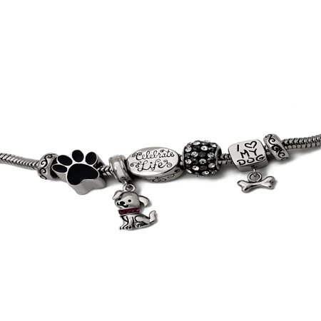 Stainless Steel Limited Edition Dog Bracelet and Charm Pack 10 Mm Charm Bracelet