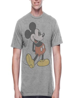 Mickey Mouse Men's Vintage Character Shot Short Sleeve Graphic T-Shirt, up to Size 2XL